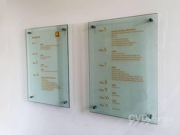 Señalética corporativa (directorio de pisos) - Sede GyM