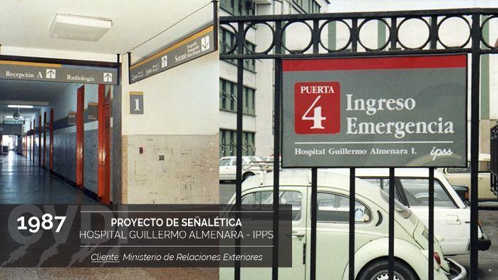 Proyecto de señalética del Hospital Guillermo Almenara - IPPS (1987) - Cliente: Ministerio de Relaciones Exteriores
