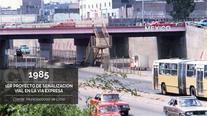 Primer Proyecto de Señalización Vial en la Via Expresa (1985) - Cliente: Municipalidad de Lima