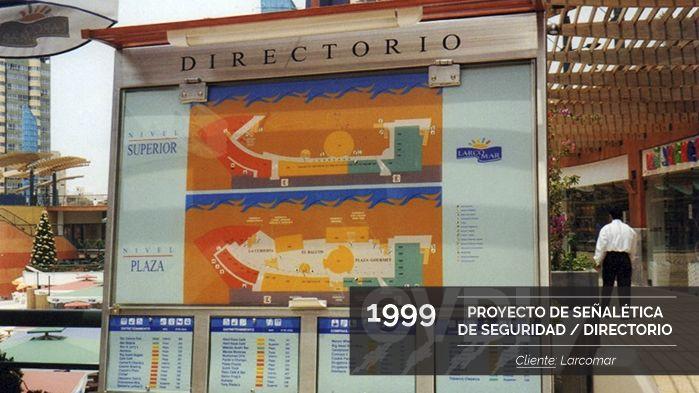 Primer Proyecto de Señalética de Seguridad / Directorio (1999) - Cliente: Larcomar